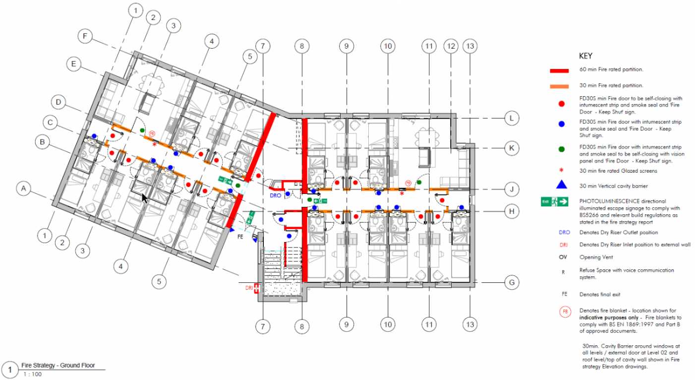 Fire CAD Drawing Showing Fire Compartments